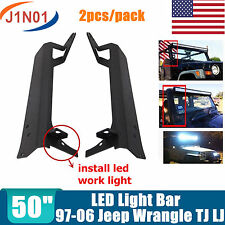 "1997-2006 Jeep Wrangler TJ LJ 50"" LED Light Bar Windshield Mounting Brackets J1"