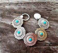 COWGIRL BLING CONCHO tri TONE METAL  FAUX TURQUOISE SOUTHWESTERN BRACELET