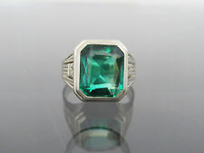 Vintage 1940s 10K Solid White Gold Green Spinel Mens Ring Size 10.25