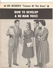 "JOE WEIDER How to develop a He-Man voice"" course booklet 1959 white color"