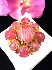 EXCEPTIONAL CADORO PINK SWIRL GRIPOIX GLASS CABOCHONS FAUX PEARL TIERED BROOCH