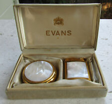 Vintage Evans Lighter & Matching Compact - Mother of Pearl - in Box