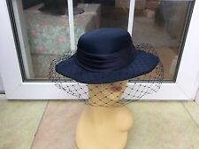 LADIES VINTAGE NAVY HAT FOR WEDDINGS/RACES/SPECIAL OCC'S, BY HAT BOX GOOD COND