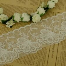 1m Ivory Medow Flower Lace Trim Sewing and Dressmaking Edging 70mm wide  LC35