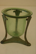 Green Glass Potpourri / Candle Vase With Green Brass Stand L#329