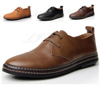 Men Genuine Soft Leather Lace Up Shoes Oxford Casual Dress Formal Driving Flats