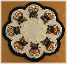 ~*PATTERN*~BOO!~Halloween Penny Rug/Candle Mat~Black Cats & Pumpkins PATTERN