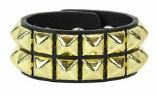 2 Row Gold Pyramid Stud Leather Bracelet Punk Goth Rockabilly Heavy Metal Bikers