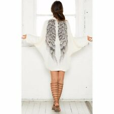 Fashion Women Casual Long Sleeve Angel Wings Prints Coat Cardigan Jacket Tops UK