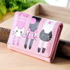 Women Fashion Cat Pattern Coin Purse Short Wallet Card Holders Chic Handbag K2