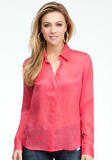 BEBE PINK SHADOW STRIPE SILK BUTTON FRONT NEW NWT SHIRT BLOUSE TOP XSMALL XS