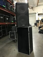 "Pair of QSC HPR 122I 12"" 2 way powered loud speakers with bag"