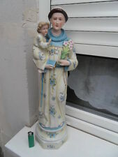 Vintage Statue biscuit St Antoine de Padoue monk St Anthony of Padua and  jesus