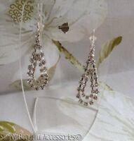 Classy Sparkly Diamante Double Teardrop Silver Tone Dangled Pierced Earrings.