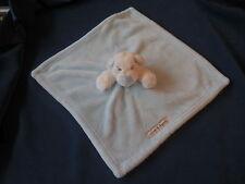 "Blankets & Beyond White Bear LOVEY Security Blanket Blue Nose Ears Velour 15"""