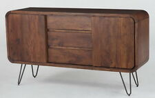 "61"" L Sideboard acacia wood antique brown finish iron legs industrial design"