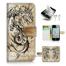 iPhone 5 5S Print Flip Wallet Case Cover! Dragon P1498