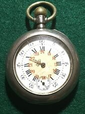 ANTIQUE SWISS PIN SET POCKET WATCH 800 SILVER CASE 1890 ENGRAVING