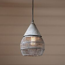 Retro Cage Pendant ~ Hanging Industrial Farmhouse Light in Weathered Zinc