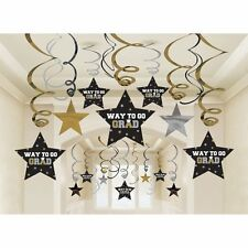 Graduation Star Swirl Decorations Black/Silver/Gold Party Accessory 30 pieces