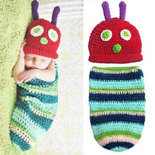 Newborn Baby Boy Girl Crochet Caterpillar Hat Cocoon Set Costume Photo Props