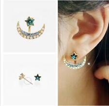 Korean Fashion Women Golden Tone Moon Star Crystal Stud Earrings