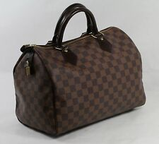 LOUIS VUITTON Authentic Damier Ebene Canvas Speedy 30 Top Handle Brown Handbag