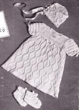 VINTAGE dress bonnet & bootees / 6 to 9 months 3ply - COPY baby knitting pattern