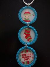 Baby's First Christmas Boy 2015 Aqua Blue Bottle Cap Christmas Ornament * new