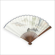 Wangxing Ji Chinese Rice Paper White Folding Fan with Chinese Poem and Painting