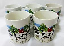 Cow mugs coffee tea cup calf red barn dairy farm signed 1997 E Rosen lot of 5