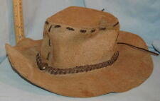 Vtg Laced Leather Hombre Flat Top Cowboy Mountain Hillbilly Hat Man w/ No Name
