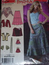 "SIMPLICITY #0594-LADIES ""DESTINATION INDIA"" SKIRT-SHRUG-PONCHO PATTERN  14-22 uc"