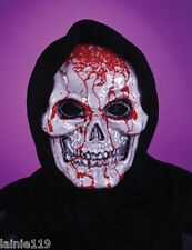 Adult BLEEDING SKULL Hooded Mask, 2-Layer with Pump & Fake Blood, Flows & Oozes!