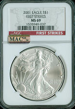 2001 SILVER EAGLE  NGC MAC MS-69 FIRST STRIKE RARE AND SPOTLESS .
