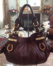 B. Makowsky Large Brown Leather Satchel Bag With Signature Gold Front Plaques