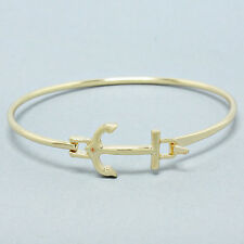 Anchor Hinge Bangle Bracelet GOLD Boating Nautical Sailing Yacht Club Jewelry