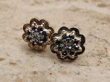 Vintage 9ct 9k 375 Gold Sapphire & Diamond Cluster Stud Earrings