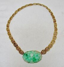"15"" Vintage 14K Yellow Gold Necklace w/ Old Chinese Green & White Jadeite Jade"