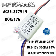 5PCS AC85-277V 5W LED Driver 1-5x1W 300mA DC2-17V Constant Current Power Supply