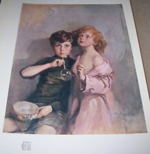 1911 MY CHILDREN STEPHEN AND PAUL by Philip A Laszlo Color Print from Oil