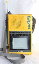 Vintage Sony Watchman Sport Flat B&W TV FM Stereo FD-44A, Fully Tested, Works!