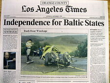 1991 newspaper BALTIC COUNTRIES Latvia Lithuania Estonia FREE from Russian Rule