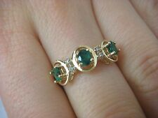 0.75 CT T.W. 3 EMERALDS & SMALL DIAMONDS LADIES RING, 14K YELLOW GOLD 2.1 GRAMS