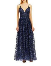 Nicole Miller V Neck, Empire Waist Midnight Blue, Prom, Evening Ball Gown Size 8