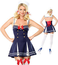 Ladies Sexy Sailor Girl Costume 5 Piece Dress, Thong, Cap & Ribbons Size 10 1203