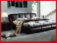 Luxury Queen size brown 100% grain leather bed frame,matching bedside table