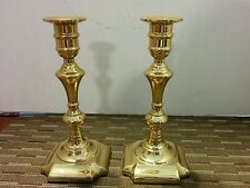 "Solid Brass Valsan Candlesticks Pair Made in Portugal 7 1/2"" tall"