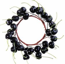 "6"" Cherry Candle Ring Wreath Black Fall Thanksgiving Christmas Holiday New 659u"