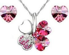 WHITE GOLD PLATED AUSTRIAN CRYSTAL ROSE PINK HEART FOUR LEAF CLOVER NECKLACE SET